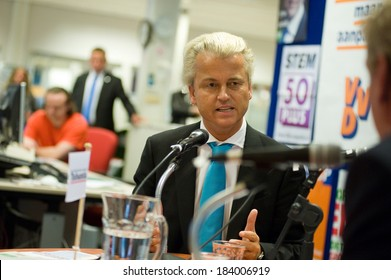 ENSCHEDE, NETHERLANDS - SEP 05: Political leader Geert Wilders of the Dutch center right party PVV defending his plans during a radio interview, SEPTEMBER 05, 2012 in the Netherlands