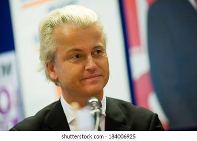 ENSCHEDE, NETHERLANDS - SEP 05: Political leader Geert Wilders of the Dutch center right party PVV during a radio interview, SEPTEMBER 05, 2012 in the Netherlands