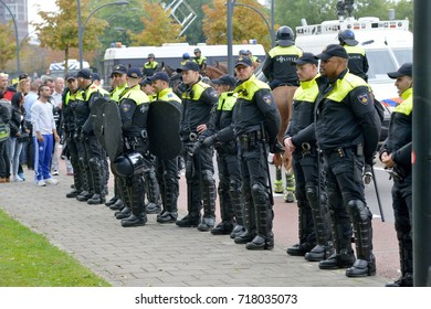 ENSCHEDE, THE NETHERLANDS - SEPT 17, 2017: Police taking care of security, during an anti-islam demonstration of Pegida. Pegida is a group of people who are against the islamization of Europe.