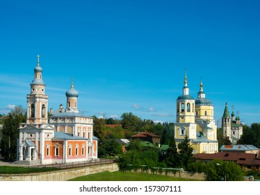 Ensemble of churches in the historic center of the town of Serpukhov, Moscow area, Russia