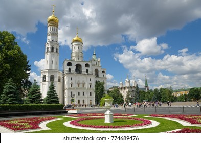 The ensemble of the Ivan the Great bell and the Patriarch's Palace with Church of Twelve apostles in the Moscow Kremlin, Russia