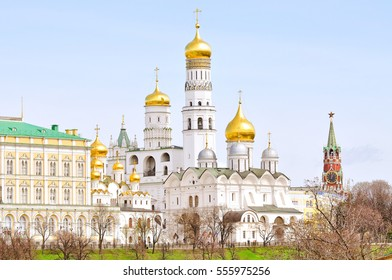 The ensemble of the Ivan the Great Bell tower and Archangel Cathedral in the Moscow Kremlin