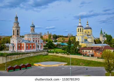 Ensemble of three churches in Serpukhov, Moscow region of Russia