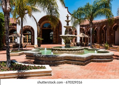 ENSENADA, MEXICO - MAY 3, 2017:  Courtyard and fountain of the Adobe Guadalupe Winery and Inn in Baja California's Valle de Guadalupe, near the town of El Porvenir.