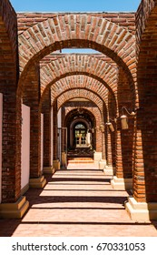 ENSENADA, MEXICO - MAY 3, 2017:  Arches at the Adobe Guadalupe Winery and Inn in Baja California's Valle de Guadalupe, near the town of El Porvenir.