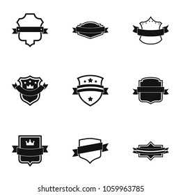Ensign icons set. Simple set of 9 ensign icons for web isolated on white background