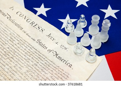 ensign of the USA with Declaration of Independence and chessmen
