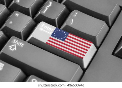 Enter button with Betsy Ross Flag