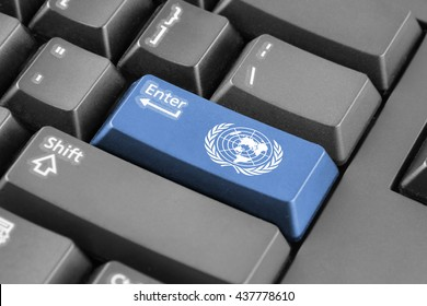 Enter button with Flag of United Nations