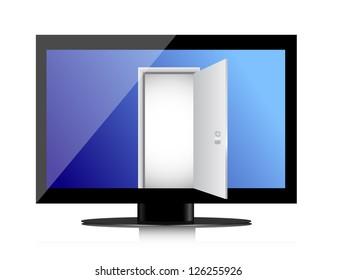 Enter into the monitor through the open door. Illustration design