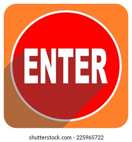 enter red flat icon isolated