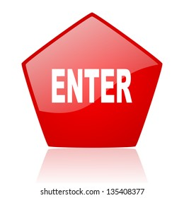enter red web glossy icon