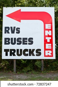 Enter sign to gas station for RVs, buses and trucks