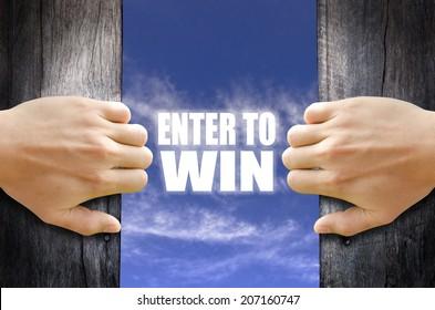 """""""Enter to Win"""" text in the sky behind 2 hands opening the wooden door."""
