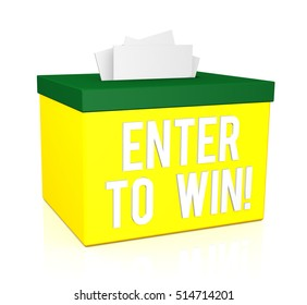 Enter To Win words on a box isolated on white background. 3d render