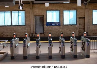 The enter/exit turnstiles of historic Pennsylvania Station in Newark, NJ