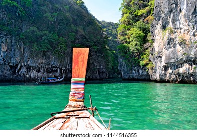 Entering the lagoon of Koh Hong on a long tail boat.