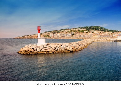 Entering on the harbor of Sete with  Lighthouse of the Saint-Louis mole, Sete, Languedoc-Roussillon, France