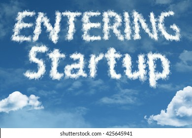Entering Startup cloud word with a blue sky