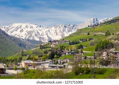 Entering Switzerland from Italy. Valais, Switzerland.