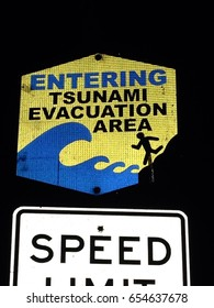 Entering Tsunami evacuation area sign in Hawaii. Big Island, October, 2014.