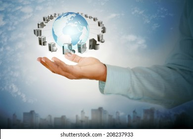 Enterprise Application connectivity and Integration in business man hand on city background
