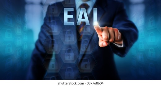 Enterprise client is pushing EAI on a touch screen interface. Business metaphor and information technology concept for Enterprise Application Integration or an enabling middleware framework.