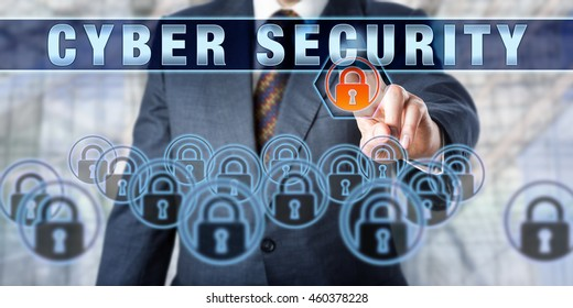 Enterprise executive is pressing CYBER SECURITY on an interactive touch screen. Business challenge metaphor and information technology concept for computer security and cyber crime prevention.