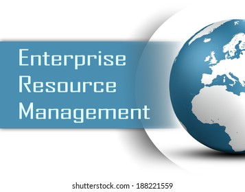 Enterprise Resource Management  concept with globe on white background