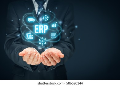 Enterprise resource planning ERP concept. Businessman offer ERP business management software for collect, store, manage and interpret data about customers, HR, production, logistics and financials.
