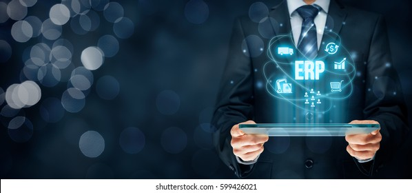 Enterprise resource planning ERP concept. Businessman work with ERP business management software for collect, store, manage and interpret business data.