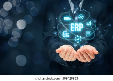 Enterprise resource planning ERP concept. Businessman offer ERP business management software for interpret business data about customers, HR, production, logistics, financials and marketing.