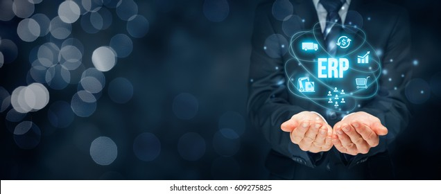Enterprise resource planning ERP concept. Business management software for collect, store, manage and interpret business data about customers, HR, production, logistics, financials and marketing.