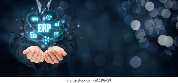 Enterprise resource planning ERP concept. ERP business management software for collect, store, manage and interpret business data about customers, HR, production, logistics, financials and marketing.