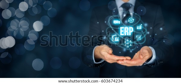 Enterprise Resource Planning Erp Concept Businessman Stock