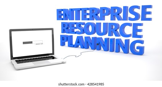 Enterprise Resource Planning - laptop notebook computer connected to a word on white background. 3d render illustration.