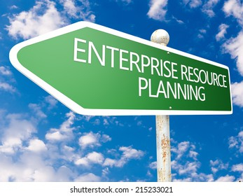 Enterprise Resource Planning - street sign illustration in front of blue sky with clouds.