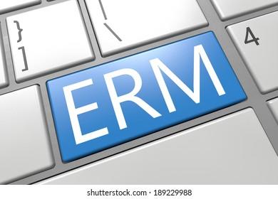 Enterprise Risk Management  - keyboard 3d render illustration with word on blue key