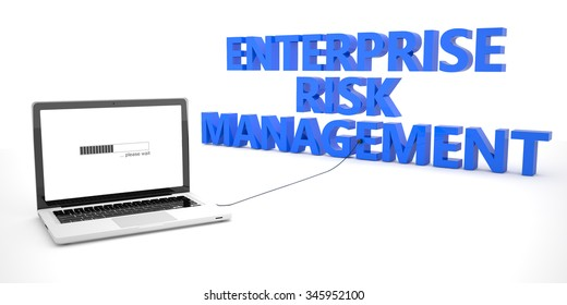 Enterprise Risk Management - laptop notebook computer connected to a word on white background. 3d render illustration.
