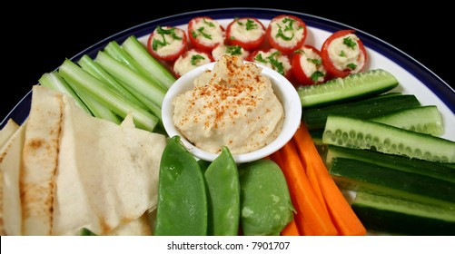 Entertaining platter with a combination of healthy finger food.