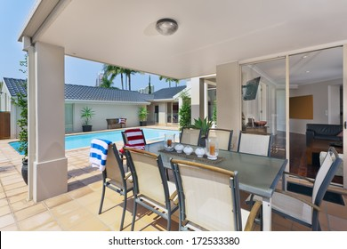 entertainment area in patio outside of modern australian home