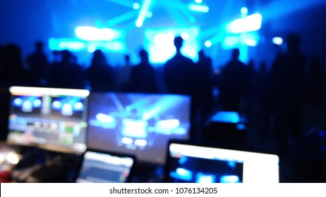 entertainment bokeh effect blurry production setting backstage cameraman live streaming concert