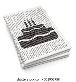 Entertainment, concept: Pixelated black Cake icon on Newspaper background
