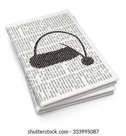 Entertainment, concept: Pixelated black Christmas Hat icon on Newspaper background