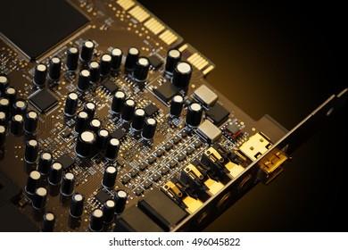 Entertainment musical computer equipment closeup. Luxury hifi electronics, golden colors. Low aperture shot, selective focus