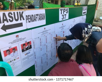 enthusiasm of the people to take part in the 2019 Indonesian presidential election in TPS 37, Purworejo Central Java 17 April 2019