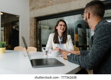 Enthusiastic atmosphere at a job interview