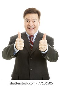 Enthusiastic businessman giving two thumbs up.  Isolated on white.