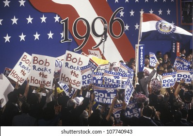 Enthusiastic delegates wave their signs supporting Bob Dole and Jack Kemp at the 1996 Republican National Convention in San Diego, California