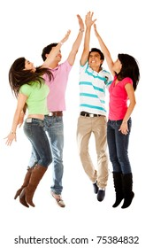 Enthusiastic group jumping making a high-five isolated